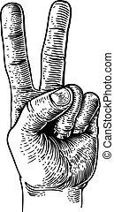שלום, שני, העבר, אצבע, חתום, ניצחון