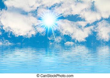 שלומי, רקע, -, שמש מוארת, שמיים כחולים, עננים לבנים, -, שמיים