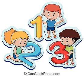 שלושה, מספר שני, מישהו, ילדים, שמח