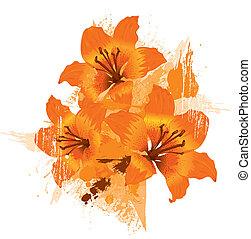 שלושה, שושן של תפוז, וקטור, גראנג, פרחוני, רקע