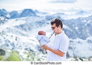 שלו, אבא, צעיר, תינוק של יילוד, שמח, לשחק, beautifu