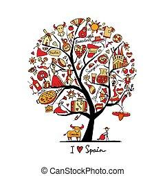 שלך, אומנות, עץ, ספרד, סמלים, עצב