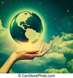 שלם, רקעים, סביבתי, עולם, ידיים, שלך