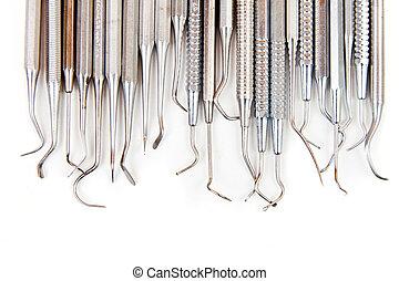 של השיניים, -, כלים, ציוד, פלדה, זהירות רפואית, שיניים