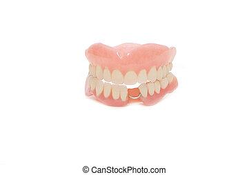של השיניים, תותבות, בלבן, רקע