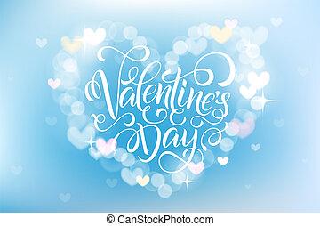 שמח, יום של ולנטיינים, חגיגה, כרטיס של דש, קשט, עם, bokeh, לב, עצב.