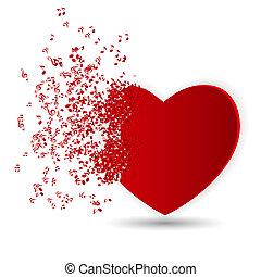 שמח, יום של ולנטיינים, כרטיס, עם, לב, מוסיקה, רואה., וקטור, דוגמה