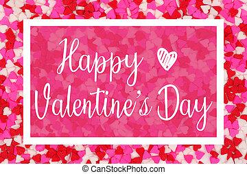 שמח, יום של ולנטיינים, כרטיס של דש, עם, לבן, טקסט, מעל, a, לב של ממתק, רקע