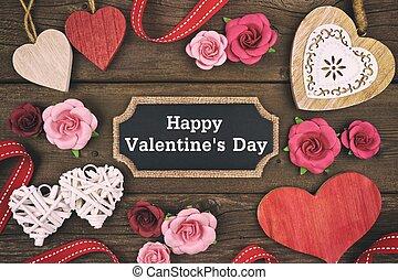שמח, יום של ולנטיינים, לוח לגיר, פתק, עם, הסגר, של, לבבות, ו, פרחים
