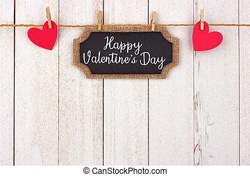 שמח, יום של ולנטיינים, לוח לגיר, פתק של מתנה, ו, לבבות, לתלות, מ, קו, הציין, גבול, נגד, לבן, עץ