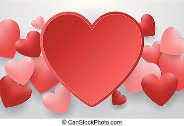 שמח, יום של ולנטיינים, עם, לב אדום, ב, רקע אפור