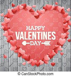 שמח, יום של ולנטיינים, רקע, עם, אדום מואר, לב