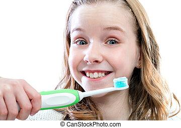 שמח, ילדה, על, לצחצח, teeth.