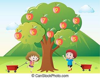 שמח, ילדים, עץ, תפוח עץ, מספרים