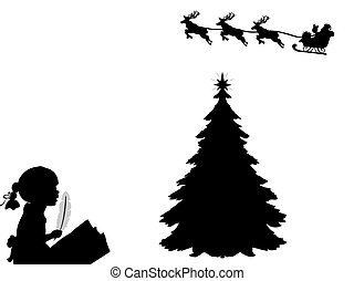 שמח, כותב, שמח, צללית, santa., מכתב, ילד, חג המולד