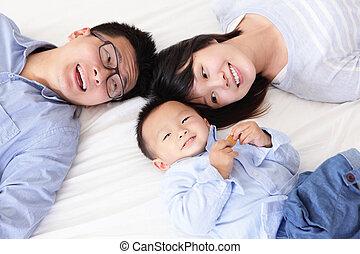 שמח, מיטה, משפחה, ילדים