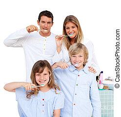 שמח, משפחה, לצחצח, שלהם, שיניים