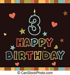 שמח, שלושה, birthday., מספר