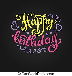 שמח, של עבודת-יד, יום הולדת, קליגרפיה, לאטארינג, -hand