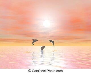 שמח, 3d, -, render, דולפינים
