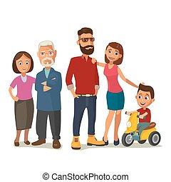 שמח, family., הורים, סבאים, ו, ילד, ב, a, tricycle.