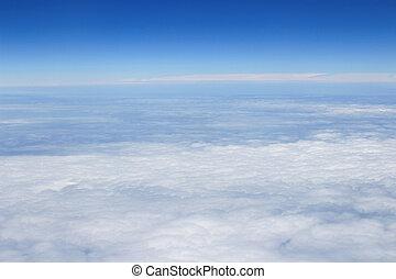 שמיים כחולים, השקפה גבוהה, מ, מטוס, עננים, צורות