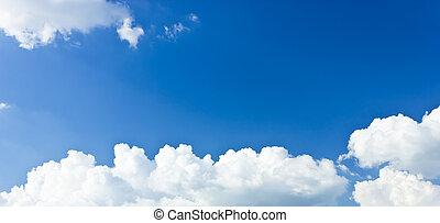 שמיים כחולים, ו, לבן, clouds.