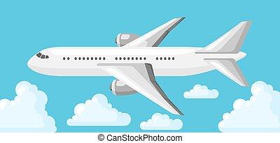 שמיים כחולים, מטוס, עננים, דוגמה