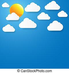 שמיים כחולים, נייר, עננים, sun.