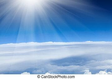 שמיים כחולים, עם, עננים, ו, שמש