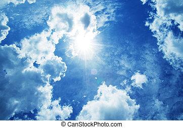 שמיים כחולים, עם, עננים, ו, sun.