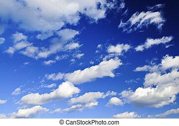 שמיים כחולים, עם, עננים לבנים