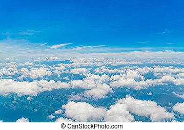 שמיים כחולים, עם, עננים, .