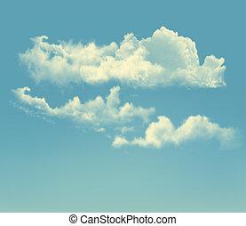 שמיים כחולים, עם, clouds., וקטור, ראטרו, רקע