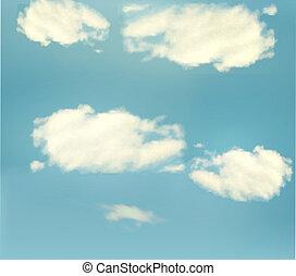 שמיים כחולים, עם, clouds., וקטור, רקע