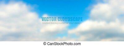 שמיים כחולים, עם, clouds., וקטור, רקע.