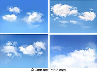 שמיים כחולים, עם, clouds., וקטור, backgrounds.