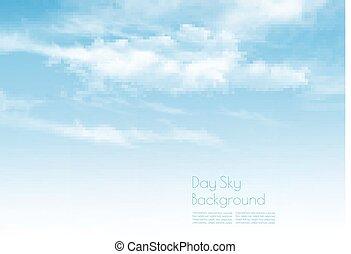 שמיים כחולים, עם, clouds., טבע, רקע., vector.
