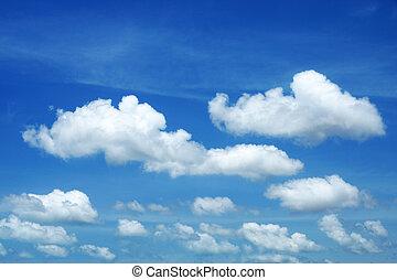 שמיים כחולים, עננים לבנים, רקע