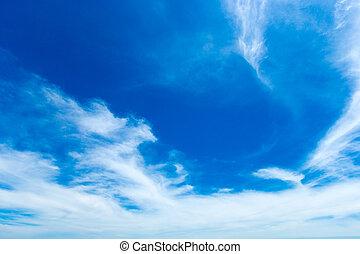 שמיים כחולים, עננים, רקע, קטנטן