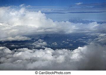 שמיים, מעל, עננים, maui.