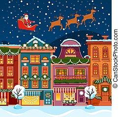 שמיים, סנטה, לילה, עיר, אייל, רחוב