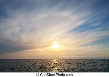 שמיים, רקע, ב, sunset.