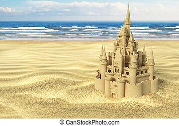שמיים, רקע., ים של חול, חוף של טירה