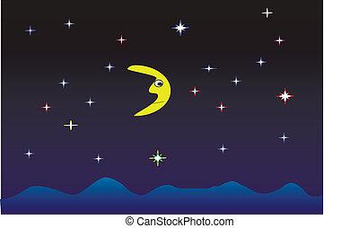 שמיים של לילה, עם, ירח ומככב