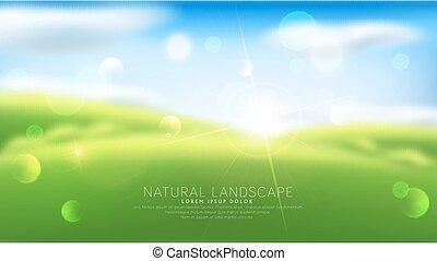 שמיים, תקציר, מודרני, עננים, דשא, blur., וקטור, רקע ירוק, advertising., sun., עצב, דפוסית
