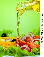 שמן, סלט, זרום, בריא, זית, ירק, טרי