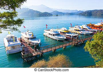 שמש, אגם, ירח, סירה, טייוואן, עלית שמש