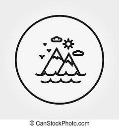 שמש, editable, clouds., קו., רזה, vector., ים, icon., הרים