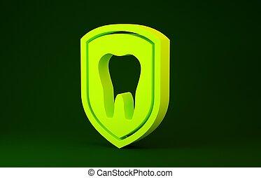 שן, צהוב, concept., render, דוגמה, 3d, הגנה, של השיניים, ירוק, icon., איקון, הפרד, הגן, רקע., לוגו, מינימליזם